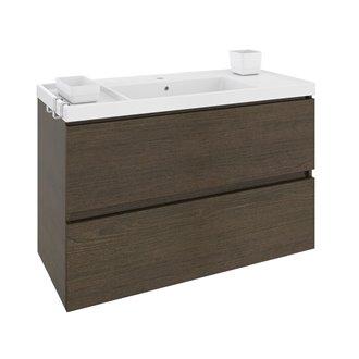 Mueble con lavabo resina 100cm Roble chocolate B-Box BATH+