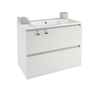 Mueble con lavabo porcelana rectangular 80cm Blanco B-Box BATH+