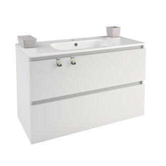 Mueble con lavabo porcelana rectangular 100cm Blanco B-Box BATH+