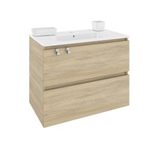 Mueble con lavabo porcelana rectangular 80cm Roble nature B-Box BATH+