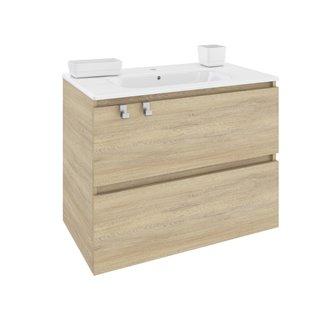 Mueble con lavabo porcelana rectangular 80cm Roble nature B-Box BATH+