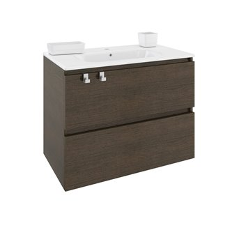 Mueble con lavabo porcelana rectangular 80cm Roble chocolate B-Box BATH+