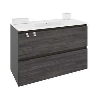 Mueble con lavabo porcelana rectangular 100cm Antracita B-Box BATH+