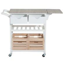 Carro de cocina extensible madera blanco