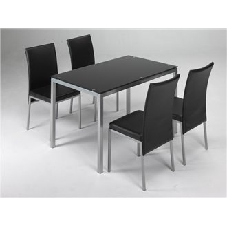 Conjunto mesa de cocina + 4 sillas LUCIO negro