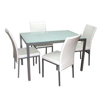 Conjunto mesa de cocina + 4 sillas LUCIO blanco