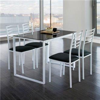 Conjunto mesa de cocina + 4 sillas NOEMÍ blanco