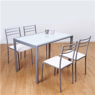 Conjunto mesa de cocina + 4 sillas ADELIA blanco