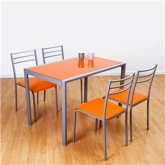 Conjunto mesa de cocina + 4 sillas ADELIA naranja