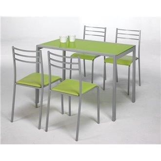 Conjunto mesa de cocina + 4 sillas ADELIA verde DE1001174 ...