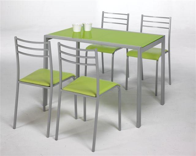 Conjunto mesa de cocina + 4 sillas ADELIA verde