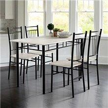 Conjunto mesa de cocina + 4 sillas blanco y negro