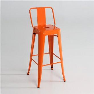 Taburete industrial alto respaldo naranja IberoDepot