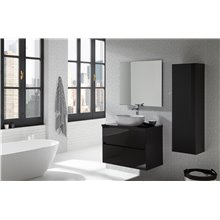 Pack mueble de baño negro y lavabo Glass Line Sanchis