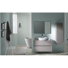 Pack mueble de baño blanco y lavabo Glass Line Sanchis