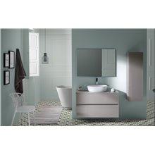 Pack mueble con 2 cajones de cristal, lavabo encastrado y espejo GLASS LINE Sanchis