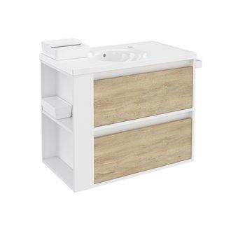 Mueble con lavabo porcelana 80cm Blanco-Roble nature/Blanco 2 cajones B-Smart BATH+