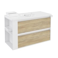 Mueble con lavabo porcelana 100cm Blanco-Roble nature/Blanco 2 cajones B-Smart BATH+
