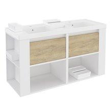 Mueble con lavabos resina 120cm Blanco-Roble nature/Blanco B-Smart BATH+
