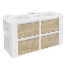 Mueble con lavabos resina 120cm Blanco-Roble nature/Blanco 4 cajones B-Smart BATH+