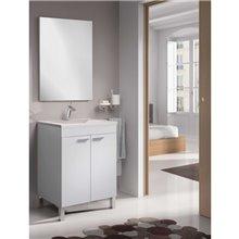 Mueble con lavabo y espejo blanco brillo...