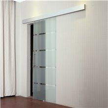 Puerta corredera de vidrio con rayas Homcom