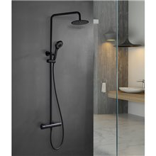 Conjunto de ducha termostática de color negro mate Kent IMEX