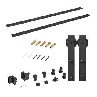 Kit de montaje de puertas correderas acero carbono Outsunny