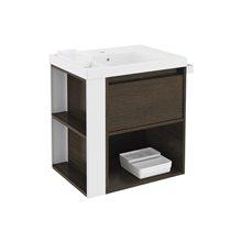 Mueble con lavabo resina 60cm Roble chocolate/Blanco B-Smart BATH+