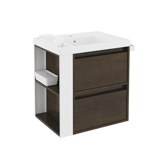 Mueble con lavabo resina 60cm Roble chocolate/Blanco 2 cajones  B-Smart BATH+
