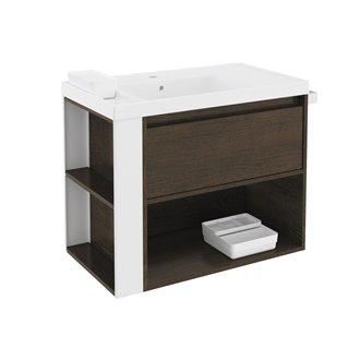Mueble con lavabo resina 80cm Roble chocolate/Blanco B-Smart BATH+