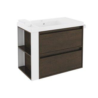 Mueble con lavabo resina 80cm Roble chocolate/Blanco 2 cajones B-Smart BATH+