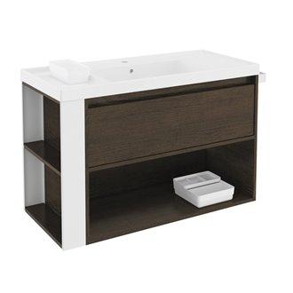 Mueble con lavabo resina 100cm Roble chocolate/Blanco B-Smart BATH+