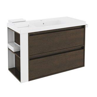 Mueble con lavabo resina 100cm Roble chocolate/Blanco 2 cajones B-Smart BATH+