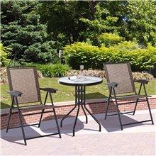Conjunto de mesa y 2 sillas de textilene y...