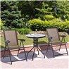 Conjunto de mesa y 2 sillas de textilene y acero Outsunny