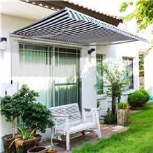 Toldo de pared plegable verde y blanco Outsunny