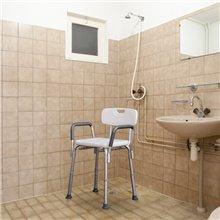 Taburete de baño regulable con respaldo Homcom