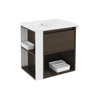 Mueble con lavabo porcelana 60cm Roble chocolate/Blanco B-Smart BATH+