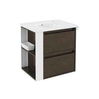 Mueble con lavabo porcelana 60cm Roble chocolate/Blanco 2 cajones B-Smart BATH+