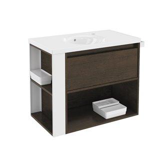 Mueble con lavabo porcelana 80cm Roble chocolate/Blanco B-Smart BATH+