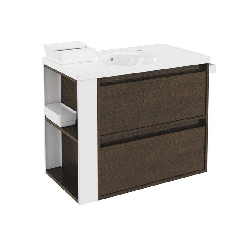 Mueble con lavabo porcelana 80cm Roble chocolate/Blanco 2 cajones B-Smart BATH+