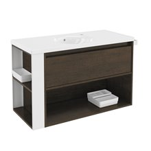 Mueble con lavabo porcelana 100cm Roble chocolate/Blanco B-Smart BATH+