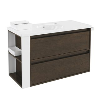 Mueble con lavabo porcelana 100cm Roble chocolate/Blanco 2 cajones B-Smart BATH+