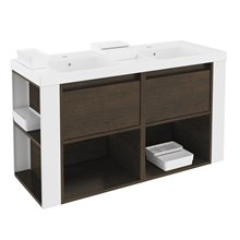 Mueble con lavabos resina 120cm Roble chocolate/Blanco B-Smart BATH+