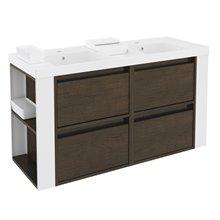 Mueble con lavabos resina 120cm Roble chocolate/Blanco 4 cajones B-Smart BATH+