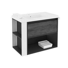 Mueble con lavabo resina 80cm Antracita-Frontal pizarra nature/Blanco B-Smart BATH+