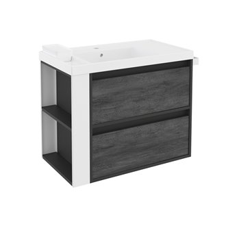 Mueble con lavabo resina 80cm Antracita-Frontal pizarra nature/Blanco 2 cajones B-Smart BATH+