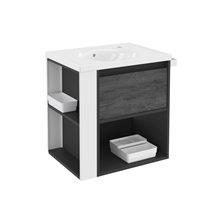 Mueble con lavabo porcelana 60cm Antracita-Frontal pizarra nature/Blanco B-Smart BATH+