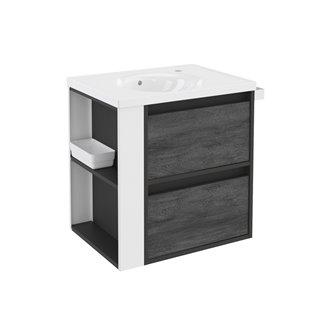 Mueble con lavabo porcelana 60cm Antracita-Frontal pizarra nature/Blanco 2 cajones B-Smart BATH+